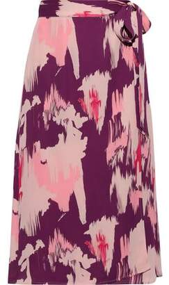 Iris & Ink Lotta Printed Crepe De Chine Midi Wrap Skirt