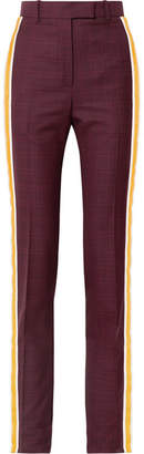 Calvin Klein Prince Of Wales Checked Wool And Silk-blend Straight-leg Pants - Burgundy