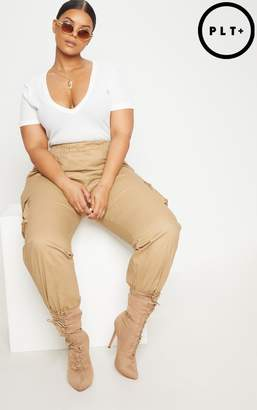 PrettyLittleThing Plus Charcoal Ribbed Plunge Short Sleeve Bodysuit