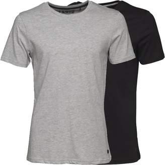 Fluid Mens Two Pack Plain T-Shirt Grey Marl