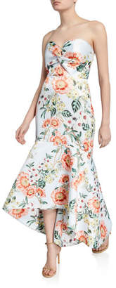 Parker Black Lilac Floral-Printed Strapless High-Low Satin Bustier Gown