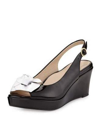 Taryn Rose Star Patent Flower Slingback Wedge Sandal, Black/White $109 thestylecure.com