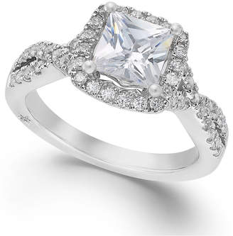 Marchesa Twist Halo by Certified Princess Cut Diamond Engagement Ring in 18k White Gold (1-1/3 ct. t.w.)