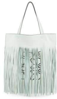 Loewe X Paula's Ibiza Vertical Fringe Leather Tote
