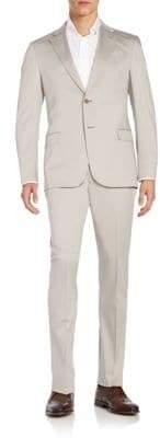 Armani Collezioni G-Line Solid Cotton-Blend Suit