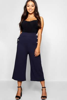 boohoo Petite Gold Button Detail Culottes