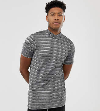 Asos Design DESIGN Tall longline t-shirt with turtle neck in silver metallic