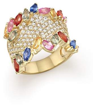 Bloomingdale's Multicolor Sapphire and Diamond Statement Ring in 14K Yellow Gold - 100% Exclusive