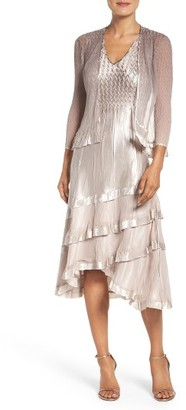 Women's Komarov Charmeuse Dress & Chiffon Jacket $438 thestylecure.com