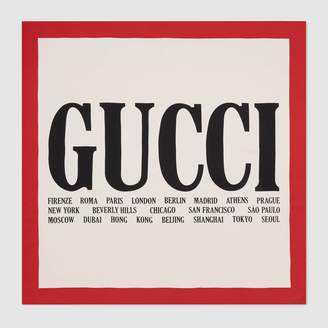 Gucci Cities print silk scarf