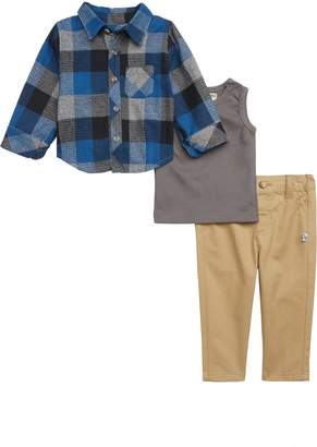 Pippa Little Brother by & Julie Plaid Shirt, Thermal Top & Sweatpants Set