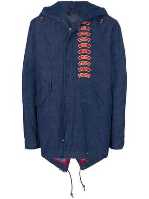 Mr & Mrs Italy embroidered patch denim parka