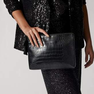 Love & Lore LOVE AND LORE CROC LARGE CLUTCH POUCH BLACK