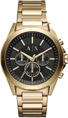 Armani Exchange Men Chronograph Drexler Gold-Tone Stainless Steel Bracelet Watch 44mm