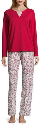 Adonna Womens Split Neck Long Sleeve Pant Pajama Set