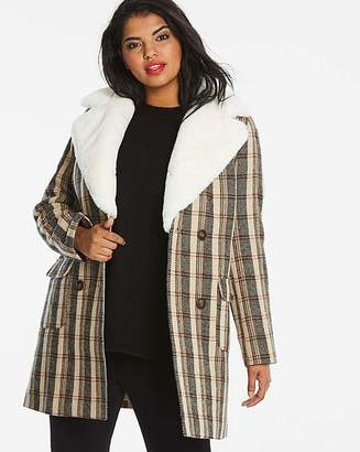 Fashion World Faux Fur Collar Check Coat