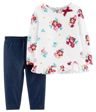 Carter's Child of Mine by Long Sleeve Floral Blouse & Pants, 2-Piece Outfit Set (Baby Girls)