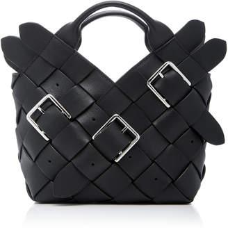Loewe Mini Woven Buckle Leather Basket Bag
