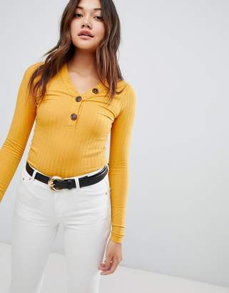 New Look Button Rib Top
