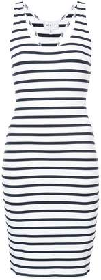 Milly stripe fitted racerback dress