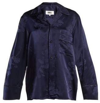 MM6 MAISON MARGIELA Oversized Jacquard Pyjama Style Shirt - Womens - Blue Multi
