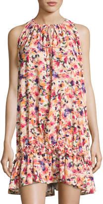 Catherine Malandrino Floral-Print Ruffled-Hem Dress, Multipattern