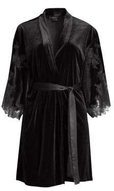 Natori Velvet & Lace Short Wrap Robe
