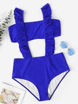Shein Plus Ruffle Bandeau Suspender Bikini Set