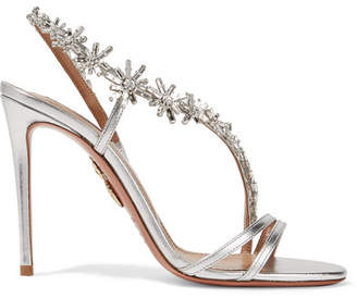 Aquazzura Chateau Crystal-embellished Metallic Leather Sandals - Silver