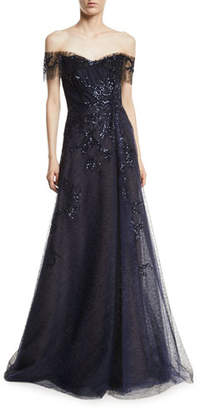 Rene Ruiz Off-the-Shoulder Beaded Gown