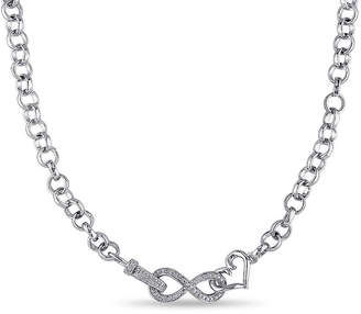 FINE JEWELRY 1/10 CT. T.W. Diamond Sterling Silver Heart & Infinity Necklace