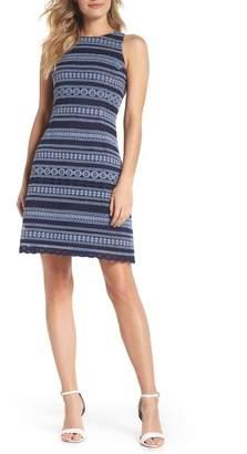 Eliza J Stripe Racerback Lace Dress (Regular & Petite)