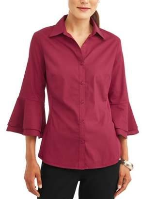 Lifestyle Attitude Women's Ruffle Sleeve Stretch Side Panel Shirt