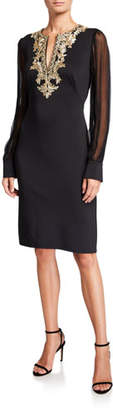 Tadashi Shoji Chiffon Long-Sleeve Split-Neck Neoprene Dress with Lace-Trim
