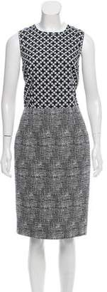 Andrew Gn Abstract Print Tweed Dress