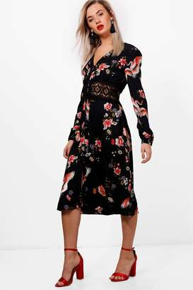 boohoo Oriental Crochet Waist Midi Dress