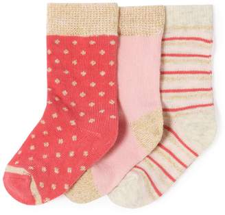 La Redoute Collections Pack of 3 Sparkly Socks, 1 Month-3 Years