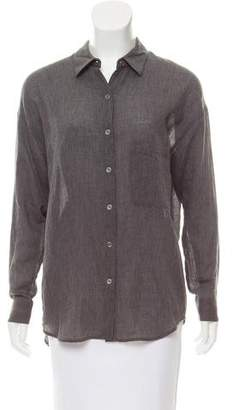 Vince Pointed Collar Button-Up Top