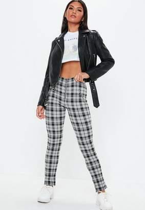 Missguided Black Check Zip Front Leggings