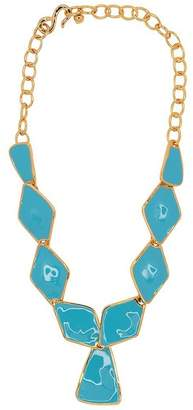 Kenneth Jay Lane Turquoise Diamond And Triangle Drop Necklace