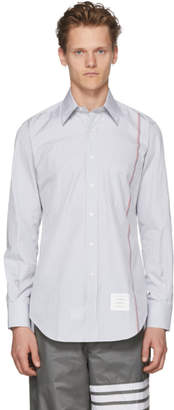 Thom Browne White and Grey Stripe University Shirt