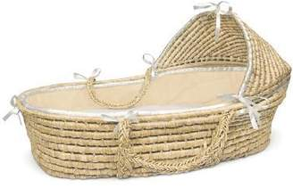 Badger Basket Natural Moses Basket with Hood, Ecru Waffle Bedding by Company