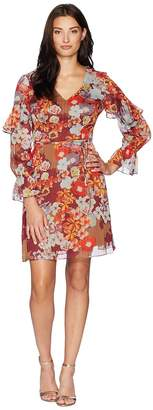 Adrianna Papell Floral Print Metallic Stripe Chiffon Ruffle Sleeve Dress Women's Dress