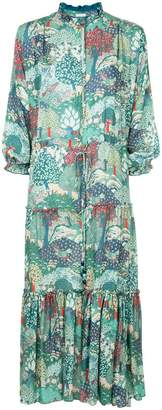 Vilshenko mixed print peasant dress
