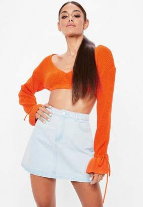 Missguided Orange Plunge Flare Sleeve Cropped Sweater