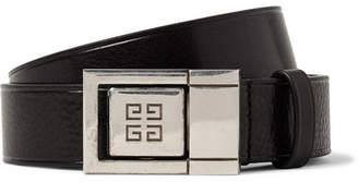 Givenchy 3cm Black Textured-Leather Belt - Black
