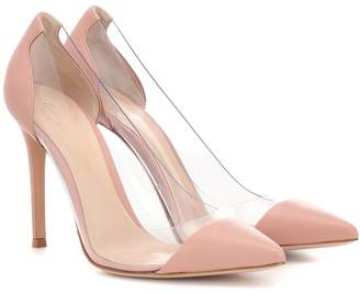 Gianvito Rossi Plexi leather and transparent pumps