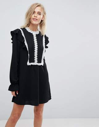 Liquorish Shift Dress With Ruffles and Contrasting Lace Details