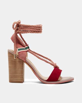 Ted Baker NAEYLA Suede rope tie heeled sandals