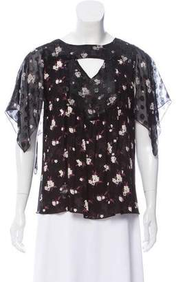 Anna Sui Floral Short Sleeve Top